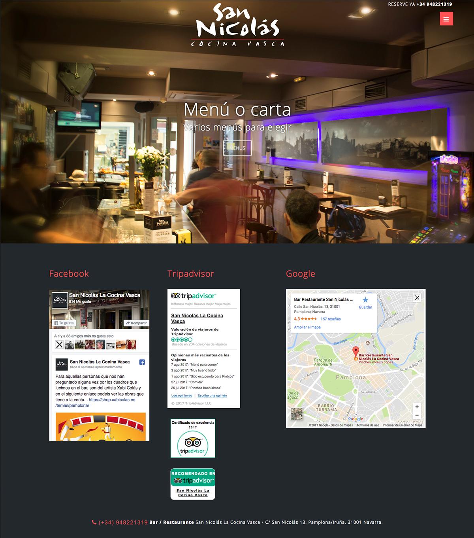 P gina web para el bar restaurante san nicol s la cocina for Cocina vasca pamplona