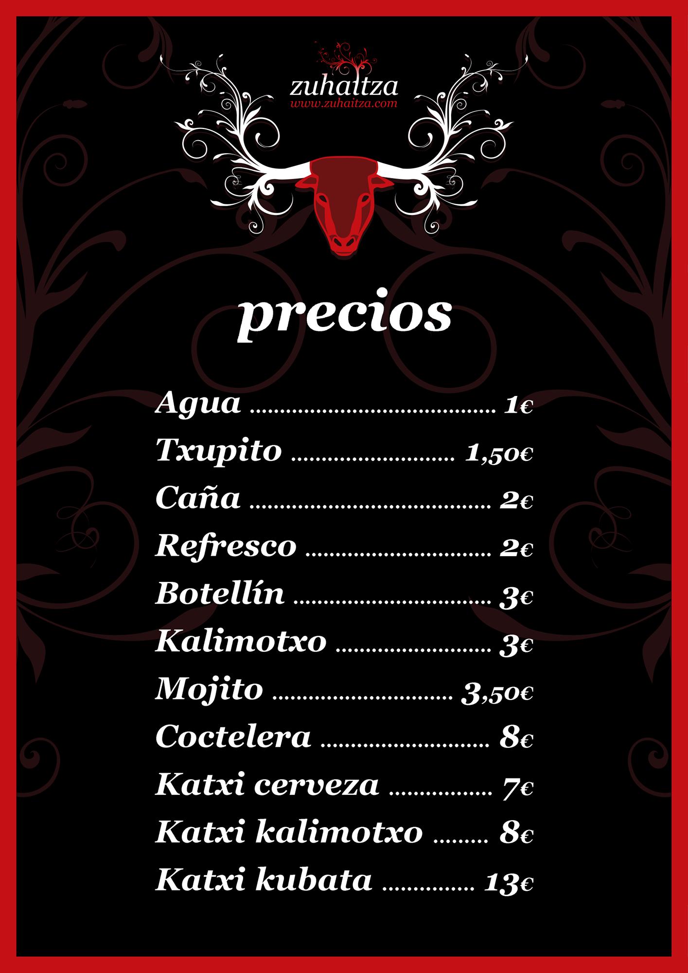 Carteles promocionales de San Fermín para el bar Zuhaitza