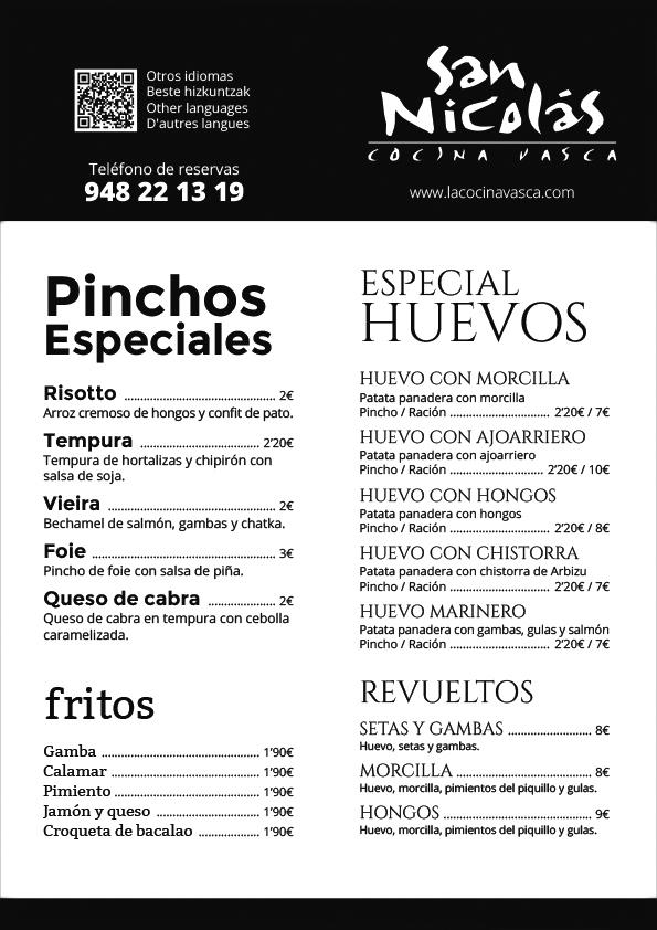 Cartas y menús para el restaurante San Nicolás