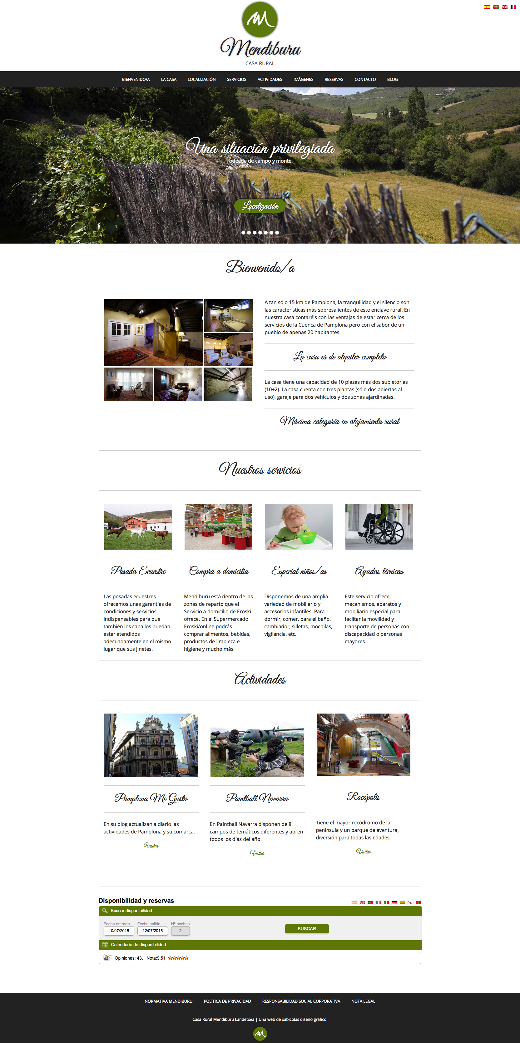 Página web para la Casa Rural Mendiburu Landetxea