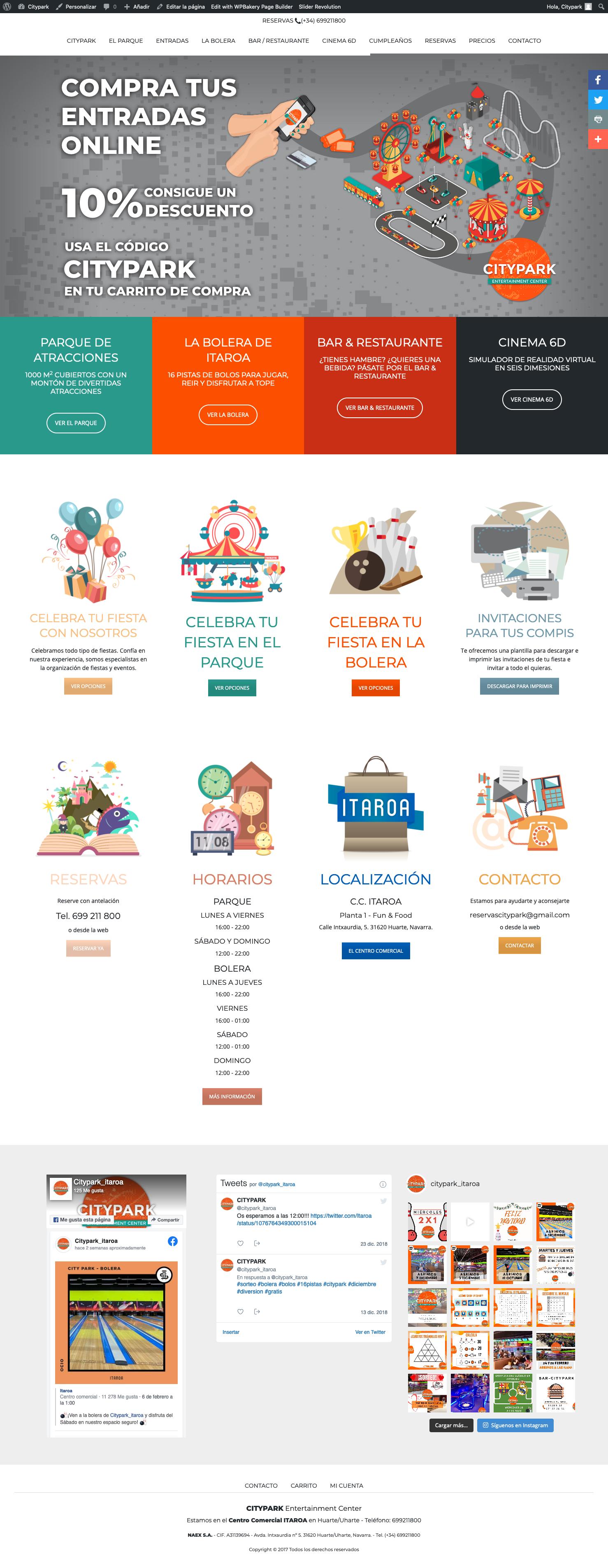 Página web con venta de tickets para CityPark