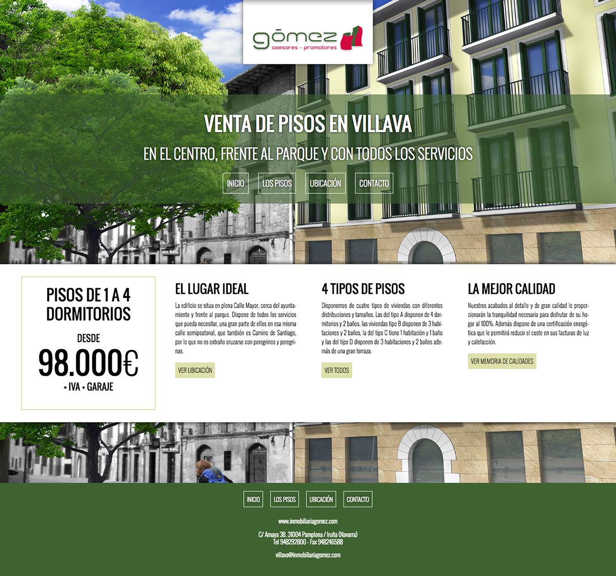 Microsite para la promoción de viviendas de Inmobiliaria Gomez