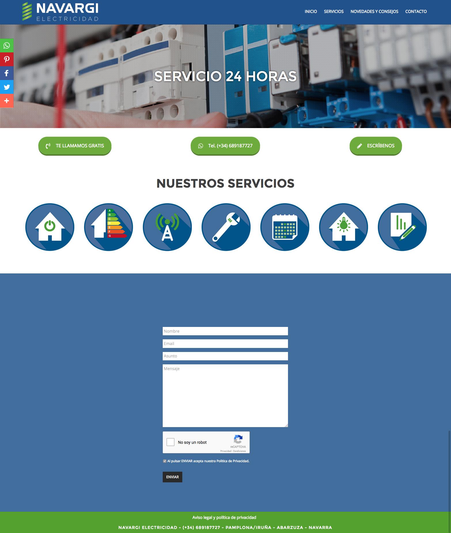 Sitio web para Navargi Electricidad