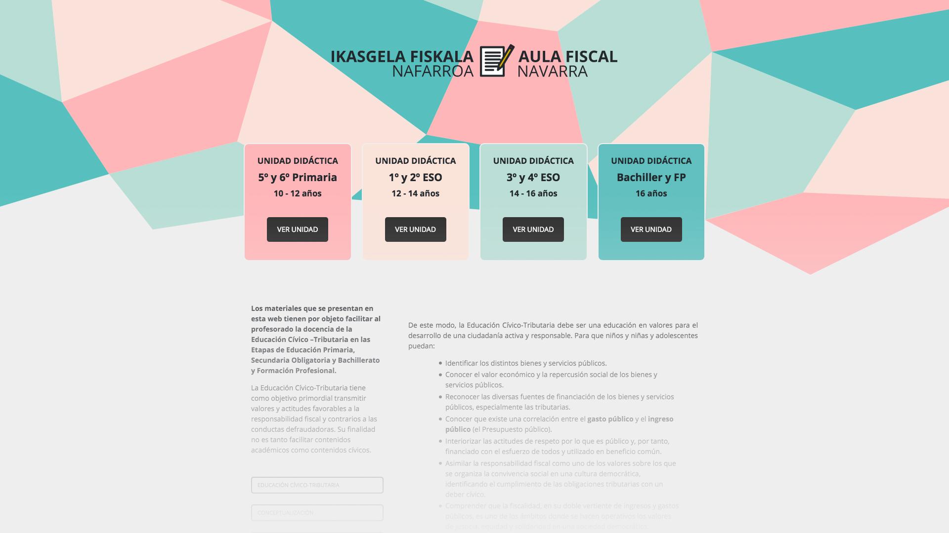Web didáctica para el Aula Fiscal de la Hacienda Navarra